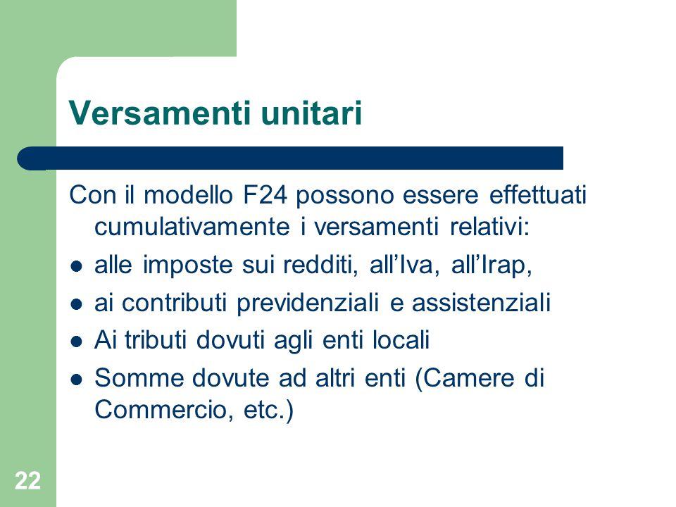 22 Versamenti unitari Con il modello F24 possono essere effettuati cumulativamente i versamenti relativi: alle imposte sui redditi, all'Iva, all'Irap, ai contributi previdenziali e assistenziali Ai tributi dovuti agli enti locali Somme dovute ad altri enti (Camere di Commercio, etc.)