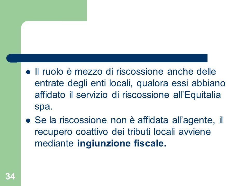 34 Il ruolo è mezzo di riscossione anche delle entrate degli enti locali, qualora essi abbiano affidato il servizio di riscossione all'Equitalia spa.