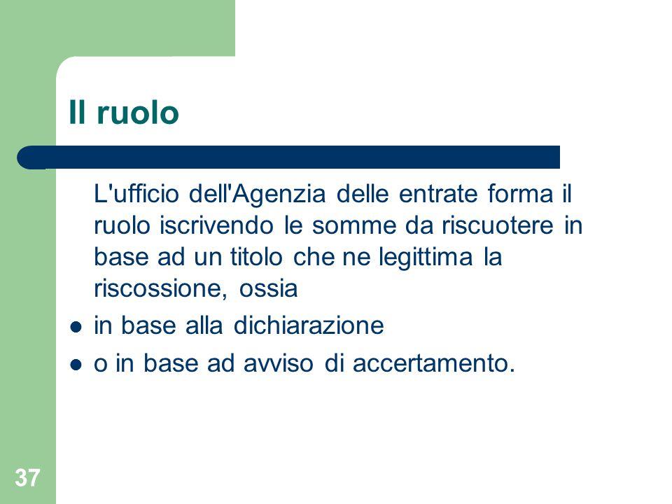 37 Il ruolo L'ufficio dell'Agenzia delle entrate forma il ruolo iscrivendo le somme da riscuotere in base ad un titolo che ne legittima la riscossione