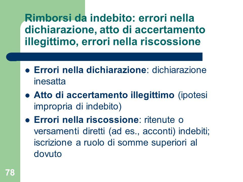 78 Rimborsi da indebito: errori nella dichiarazione, atto di accertamento illegittimo, errori nella riscossione Errori nella dichiarazione: dichiarazi