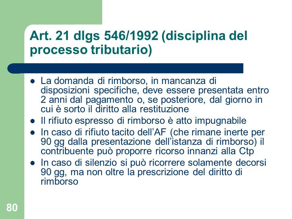 80 Art. 21 dlgs 546/1992 (disciplina del processo tributario) La domanda di rimborso, in mancanza di disposizioni specifiche, deve essere presentata e