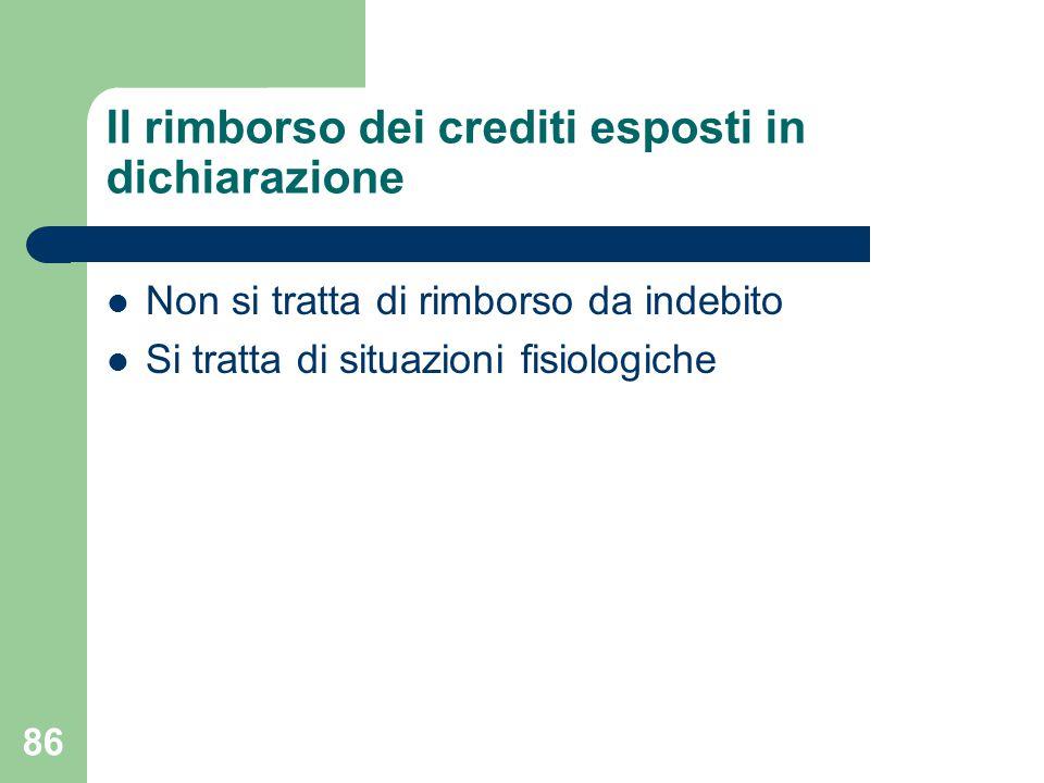 86 Il rimborso dei crediti esposti in dichiarazione Non si tratta di rimborso da indebito Si tratta di situazioni fisiologiche