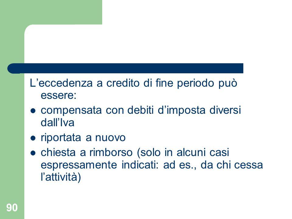 90 L'eccedenza a credito di fine periodo può essere: compensata con debiti d'imposta diversi dall'Iva riportata a nuovo chiesta a rimborso (solo in al