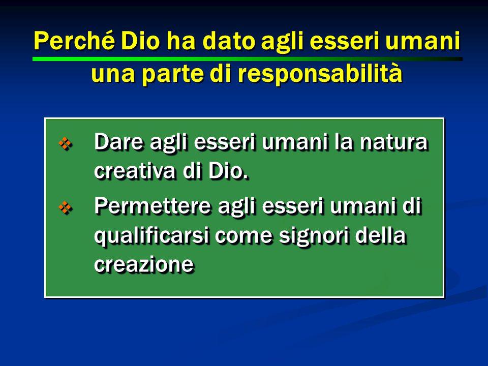 28  Dare agli esseri umani la natura creativa di Dio.
