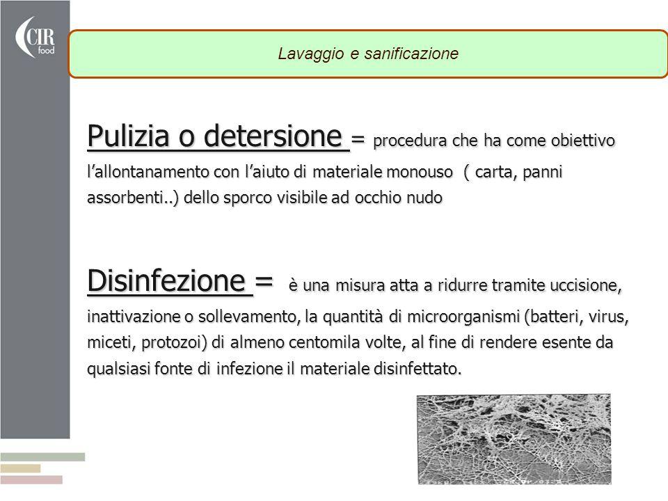 Pulizia o detersione = procedura che ha come obiettivo l'allontanamento con l'aiuto di materiale monouso ( carta, panni assorbenti..) dello sporco vis