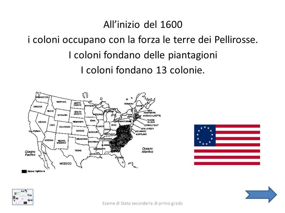 COME NASCONO GLI STATI UNITI D'AMERICA? Esame di Stato secondaria di primo grado Prima del 1600 nell'America del Nord vivono numerosi popoli. Questi p