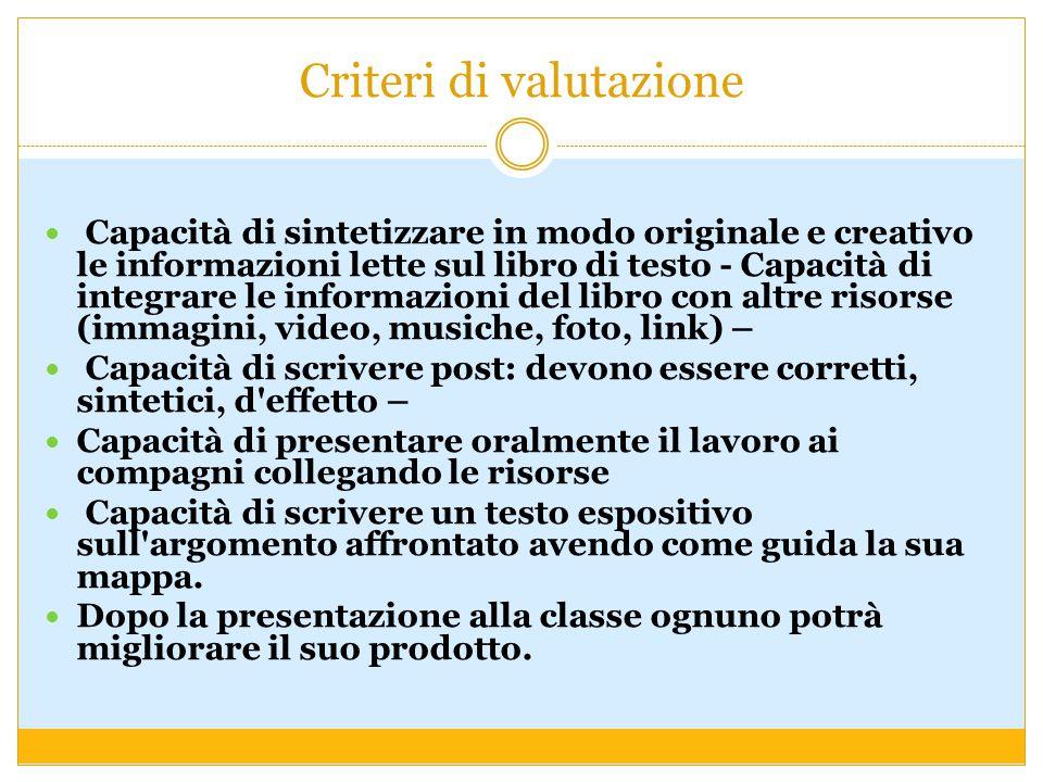 Criteri di valutazione Capacità di sintetizzare in modo originale e creativo le informazioni lette sul libro di testo - Capacità di integrare le infor