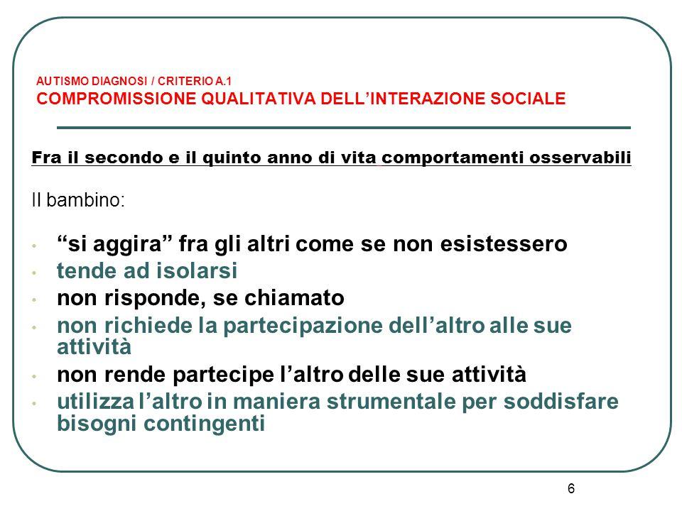 6 AUTISMO DIAGNOSI / CRITERIO A.1 COMPROMISSIONE QUALITATIVA DELL'INTERAZIONE SOCIALE Fra il secondo e il quinto anno di vita comportamenti osservabil