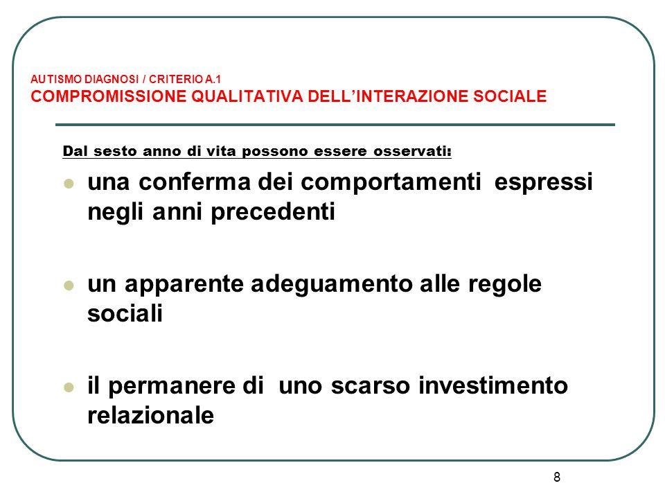8 AUTISMO DIAGNOSI / CRITERIO A.1 COMPROMISSIONE QUALITATIVA DELL'INTERAZIONE SOCIALE Dal sesto anno di vita possono essere osservati: una conferma de
