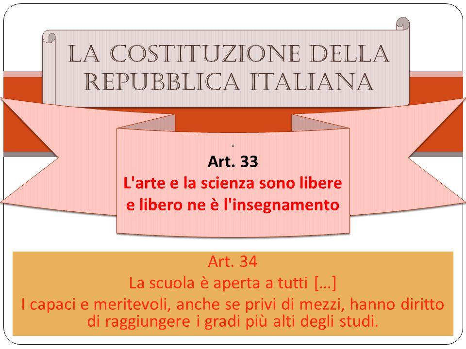 Art. 34 La scuola è aperta a tutti […] I capaci e meritevoli, anche se privi di mezzi, hanno diritto di raggiungere i gradi più alti degli studi. La c