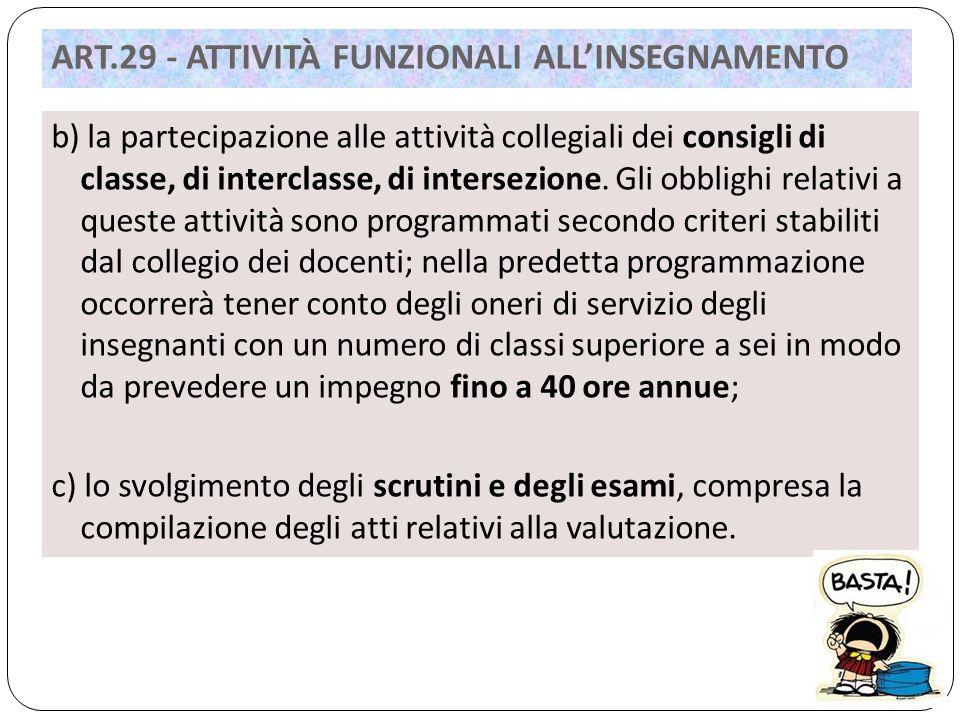 b) la partecipazione alle attività collegiali dei consigli di classe, di interclasse, di intersezione.
