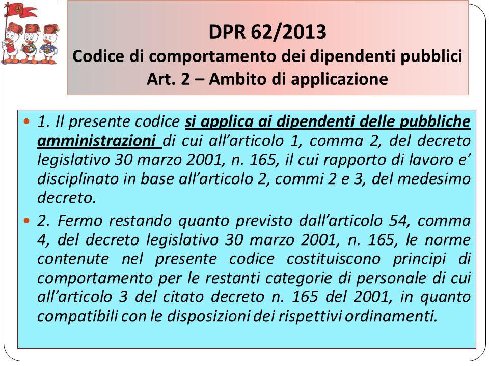 DPR 62/2013 Codice di comportamento dei dipendenti pubblici Art.