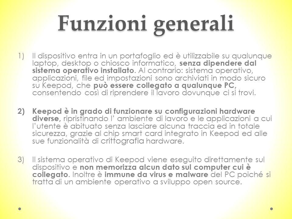 Funzioni generali 1)Il dispositivo entra in un portafoglio ed è utilizzabile su qualunque laptop, desktop o chiosco informatico, senza dipendere dal s