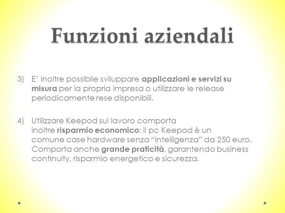 Funzioni aziendali 3)E' inoltre possibile sviluppare applicazioni e servizi su misura per la propria impresa o utilizzare le release periodicamente rese disponibili.