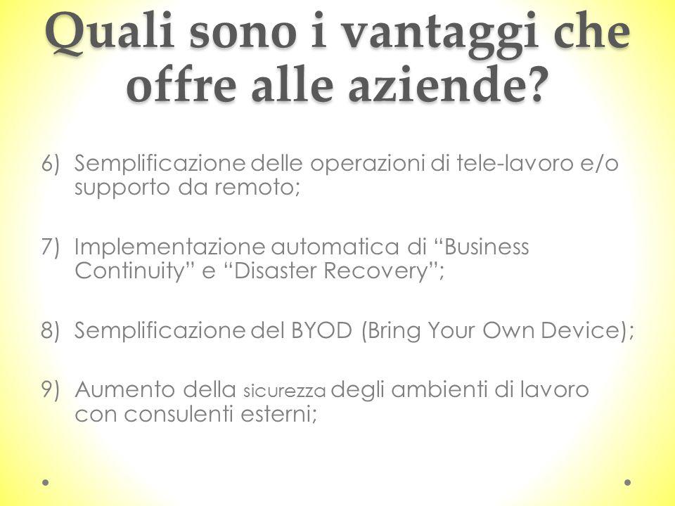 Quali sono i vantaggi che offre alle aziende? 6)Semplificazione delle operazioni di tele-lavoro e/o supporto da remoto; 7)Implementazione automatica d