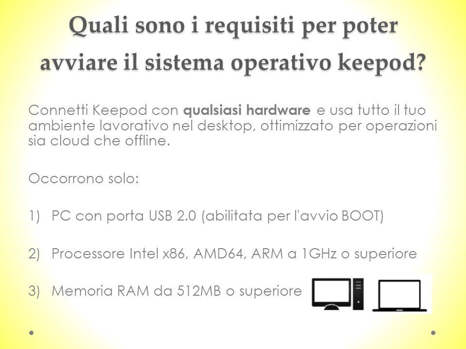 Quali sono i requisiti per poter avviare il sistema operativo keepod? Connetti Keepod con qualsiasi hardware e usa tutto il tuo ambiente lavorativo ne