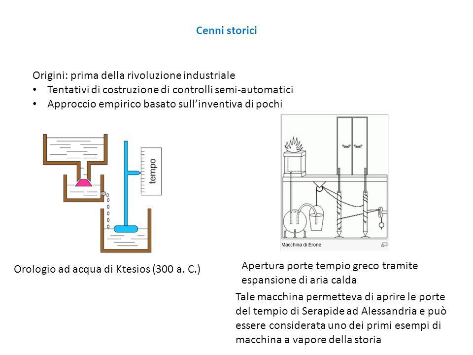 Origini: prima della rivoluzione industriale Tentativi di costruzione di controlli semi-automatici Approccio empirico basato sull'inventiva di pochi O