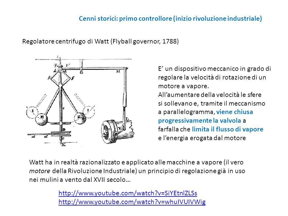 Cenni storici: primo controllore (inizio rivoluzione industriale) Regolatore centrifugo di Watt (Flyball governor, 1788) E' un dispositivo meccanico i