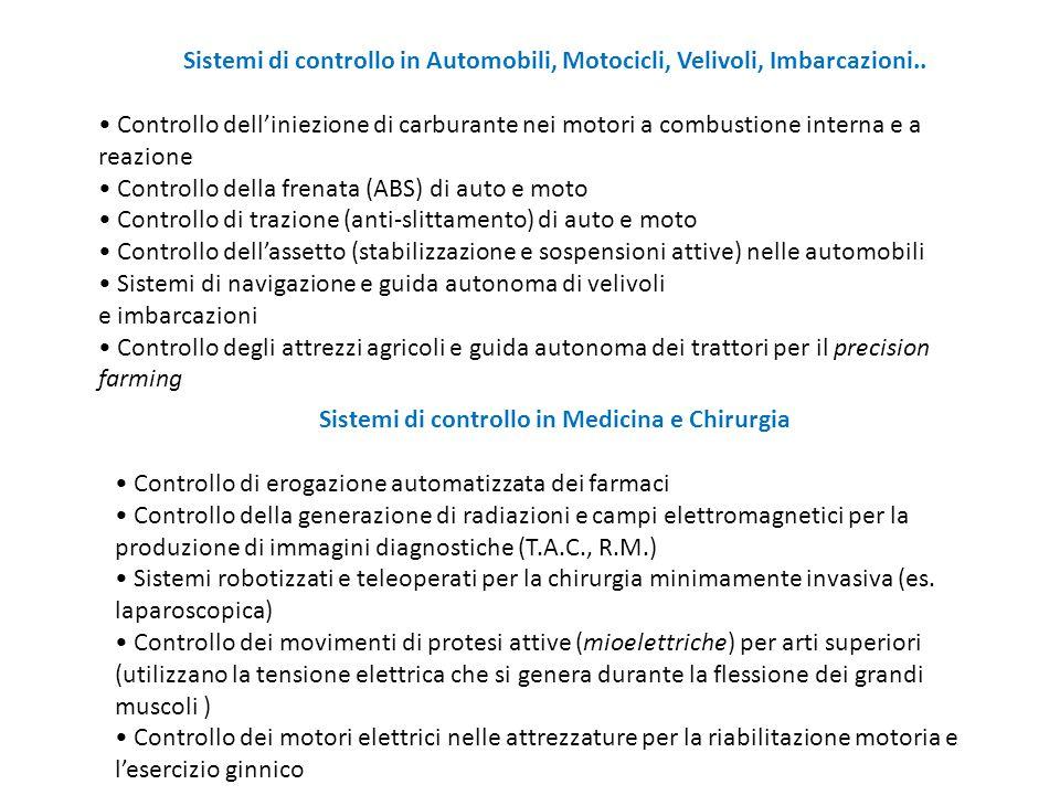 Sistemi di controllo in Automobili, Motocicli, Velivoli, Imbarcazioni.. Controllo dell'iniezione di carburante nei motori a combustione interna e a re