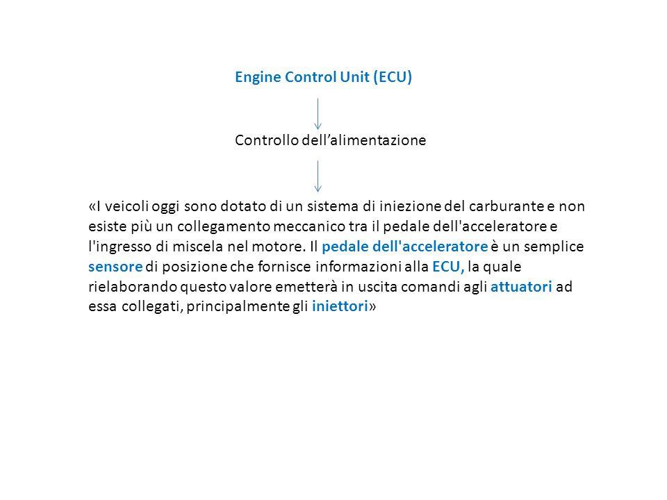 Engine Control Unit (ECU) Controllo dell'alimentazione «I veicoli oggi sono dotato di un sistema di iniezione del carburante e non esiste più un colle