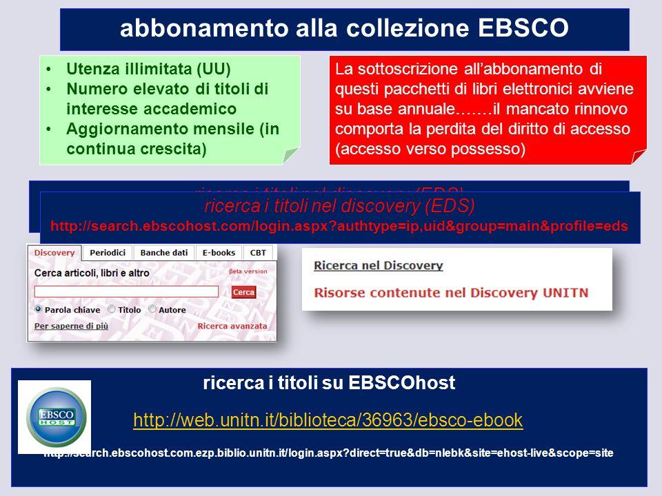 10 abbonamento alla collezione EBSCO Utenza illimitata (UU) Numero elevato di titoli di interesse accademico Aggiornamento mensile (in continua cresci