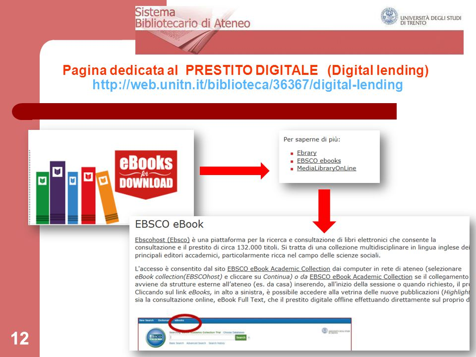 12 Pagina dedicata al PRESTITO DIGITALE (Digital lending) http://web.unitn.it/biblioteca/36367/digital-lending 12
