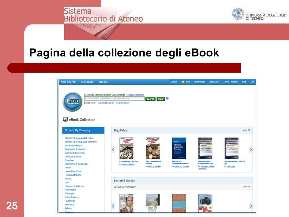 25 Pagina della collezione degli eBook