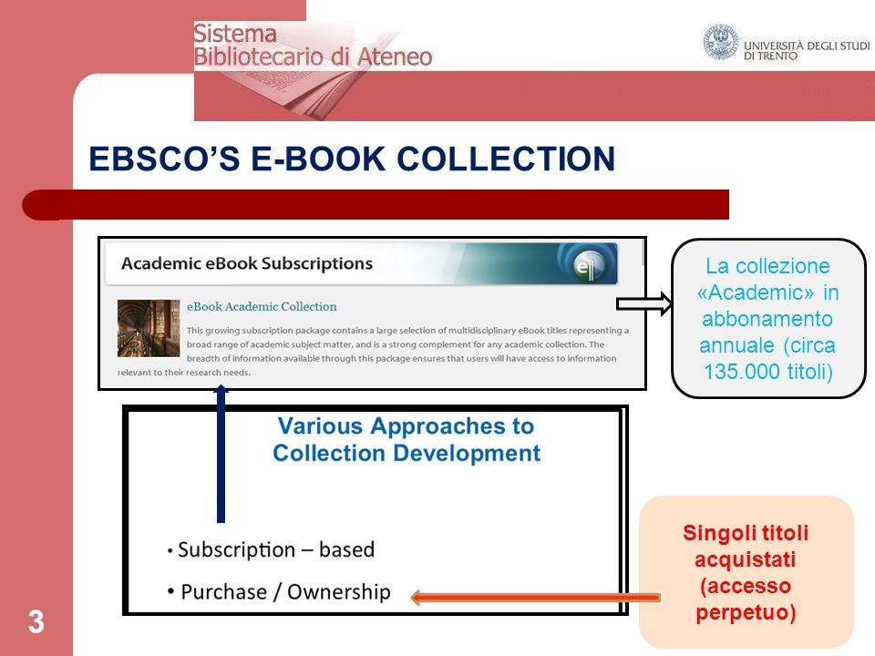 3 EBSCO'S E-BOOK COLLECTION 3 Singoli titoli acquistati (accesso perpetuo) La collezione «Academic» in abbonamento annuale (circa 135.000 titoli)