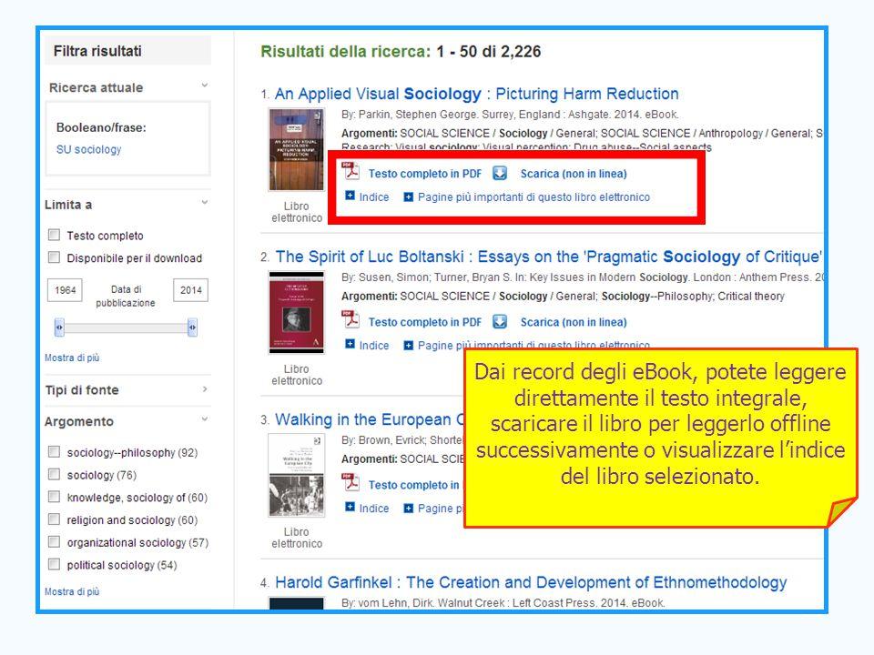 38 Dai record degli eBook, potete leggere direttamente il testo integrale, scaricare il libro per leggerlo offline successivamente o visualizzare l'in