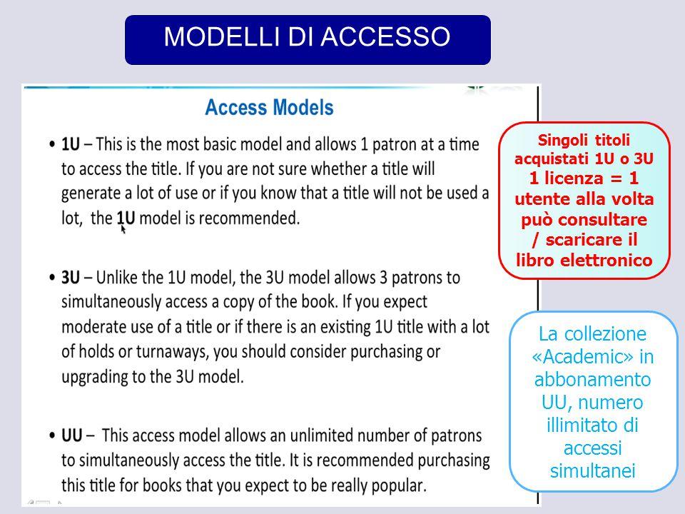 4 MODELLI DI ACCESSO Singoli titoli acquistati 1U o 3U 1 licenza = 1 utente alla volta può consultare / scaricare il libro elettronico La collezione «