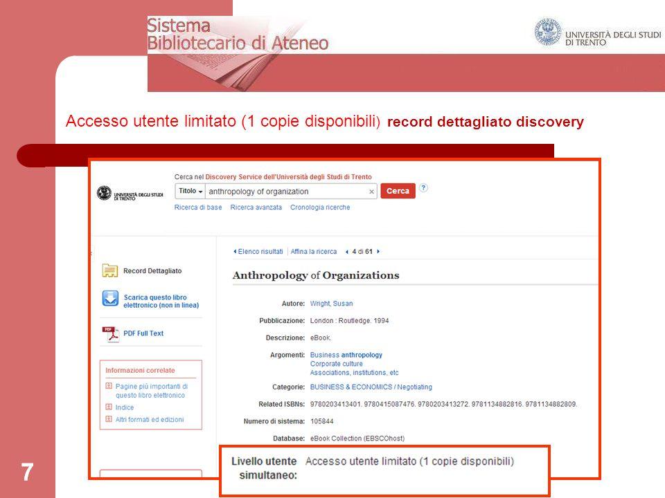 7 Accesso utente limitato (1 copie disponibili ) record dettagliato discovery 7
