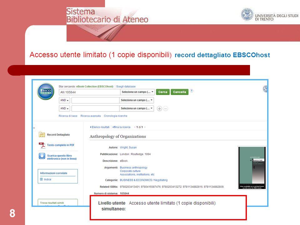 8 Accesso utente limitato (1 copie disponibili ) record dettagliato EBSCOhost 8