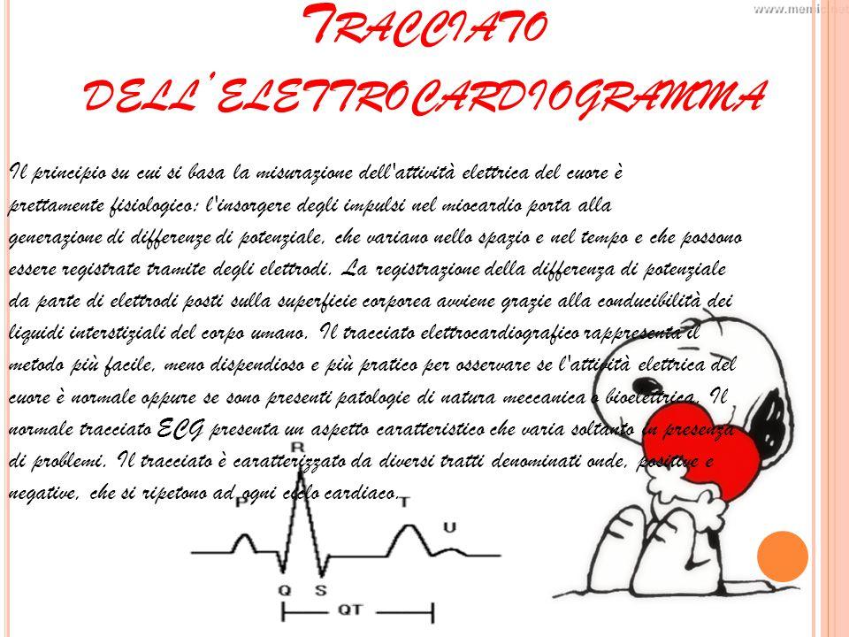 T RACCIATO DELL ' ELETTROCARDIOGRAMMA Il principio su cui si basa la misurazione dell attività elettrica del cuore è prettamente fisiologico: l insorgere degli impulsi nel miocardio porta alla generazione di differenze di potenziale, che variano nello spazio e nel tempo e che possono essere registrate tramite degli elettrodi.