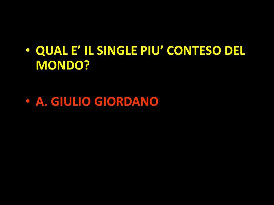 Organization in Pathways QUAL E' IL SINGLE PIU' CONTESO DEL MONDO? A. GIULIO GIORDANO