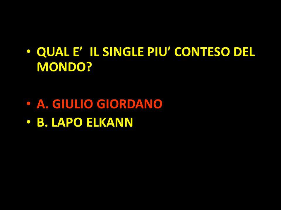 Organization in Pathways QUAL E' IL SINGLE PIU' CONTESO DEL MONDO? A. GIULIO GIORDANO B. LAPO ELKANN