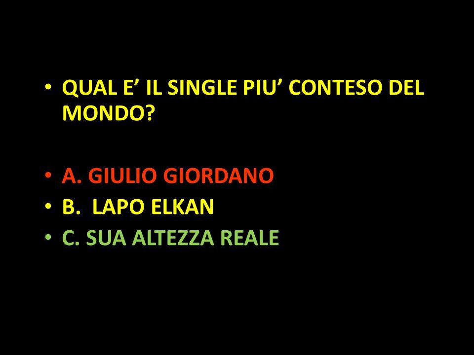 Organization in Pathways QUAL E' IL SINGLE PIU' CONTESO DEL MONDO? A. GIULIO GIORDANO B. LAPO ELKAN C. SUA ALTEZZA REALE