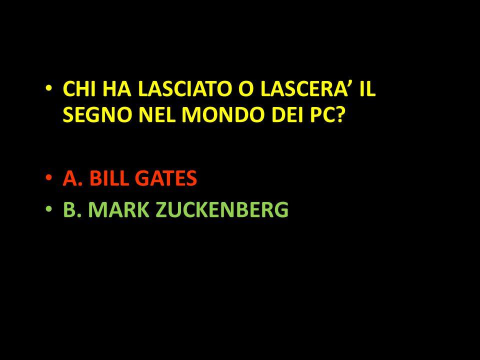 Organization in Pathways CHI HA LASCIATO O LASCERA' IL SEGNO NEL MONDO DEI PC? A. BILL GATES B. MARK ZUCKENBERG