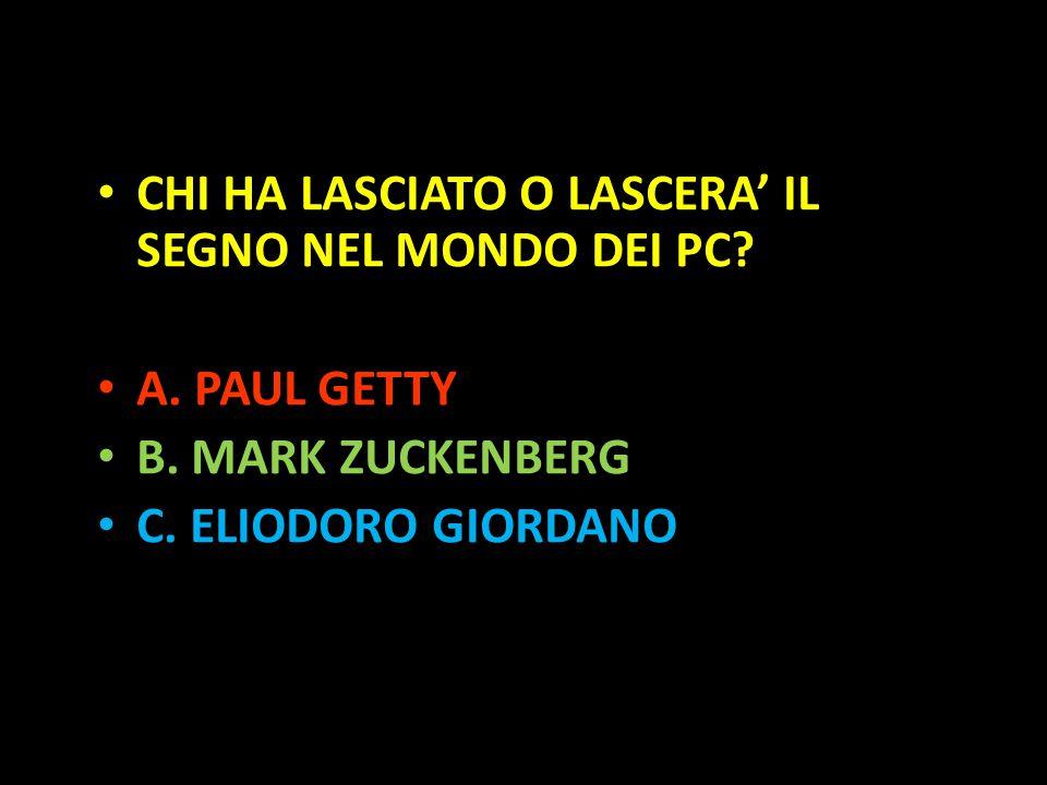 Organization in Pathways CHI HA LASCIATO O LASCERA' IL SEGNO NEL MONDO DEI PC? A. PAUL GETTY B. MARK ZUCKENBERG C. ELIODORO GIORDANO