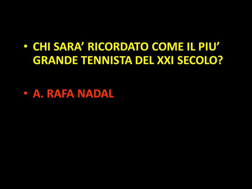 Organization in Pathways CHI SARA' RICORDATO COME IL PIU' GRANDE TENNISTA DEL XXI SECOLO? A. RAFA NADAL