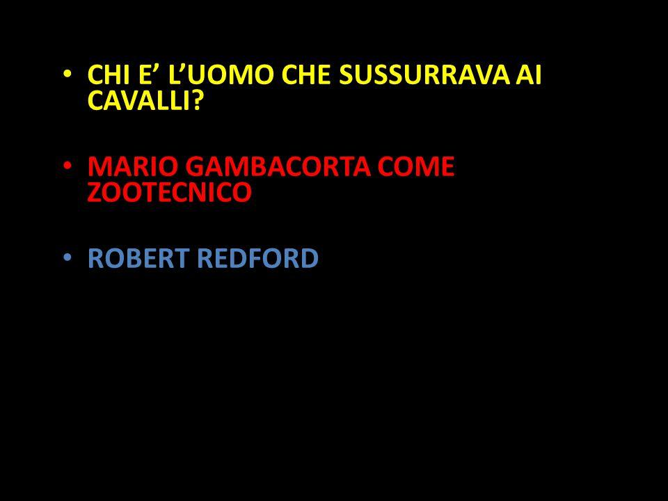 Organization in Pathways CHI E' L'UOMO CHE SUSSURRAVA AI CAVALLI? MARIO GAMBACORTA COME ZOOTECNICO ROBERT REDFORD