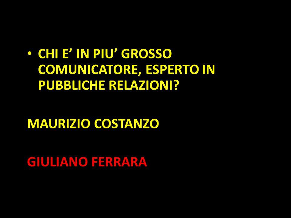 Organization in Pathways CHI E' IN PIU' GROSSO COMUNICATORE, ESPERTO IN PUBBLICHE RELAZIONI? MAURIZIO COSTANZO GIULIANO FERRARA