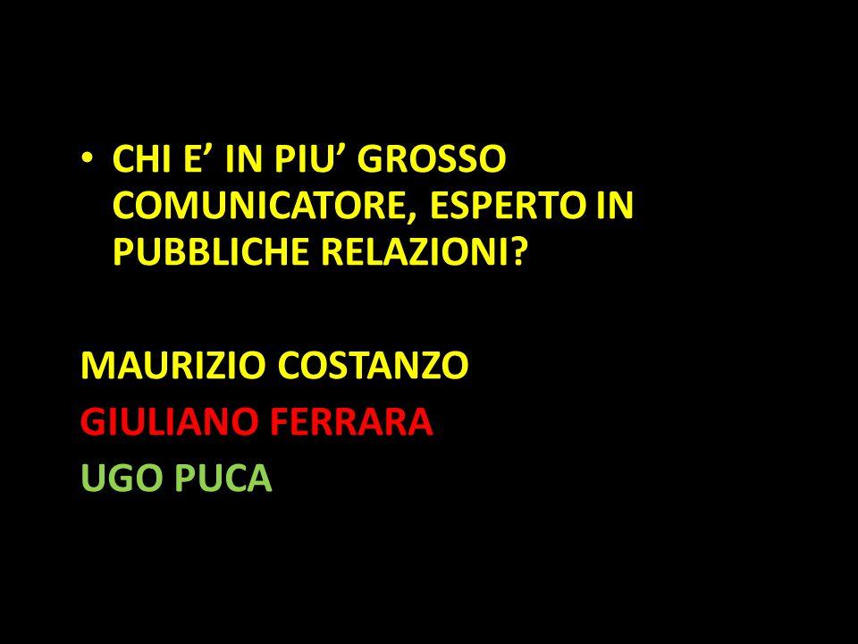 Organization in Pathways CHI E' IN PIU' GROSSO COMUNICATORE, ESPERTO IN PUBBLICHE RELAZIONI? MAURIZIO COSTANZO GIULIANO FERRARA UGO PUCA