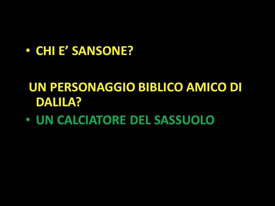 Organization in Pathways CHI E' SANSONE? UN PERSONAGGIO BIBLICO AMICO DI DALILA? UN CALCIATORE DEL SASSUOLO