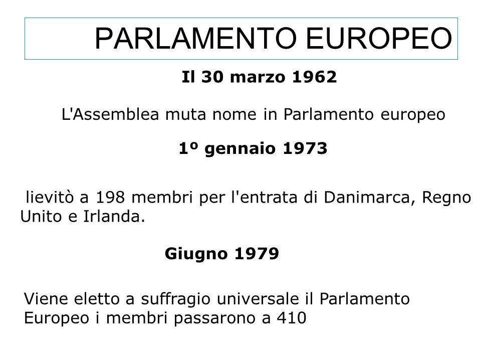 PARLAMENTO EUROPEO Giugno 1979 Viene eletto a suffragio universale il Parlamento Europeo i membri passarono a 410 L'Assemblea muta nome in Parlamento