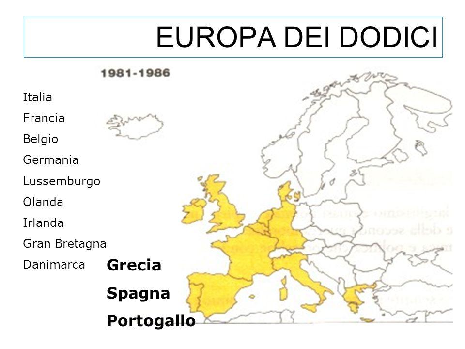 EUROPA DEI DODICI Grecia Spagna Portogallo Italia Francia Belgio Germania Lussemburgo Olanda Irlanda Gran Bretagna Danimarca