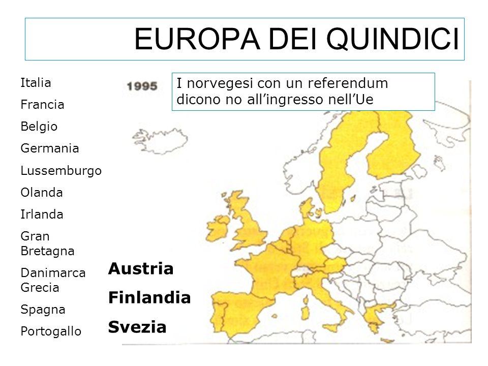 EUROPA DEI QUINDICI Austria Finlandia Svezia I norvegesi con un referendum dicono no all'ingresso nell'Ue Italia Francia Belgio Germania Lussemburgo O