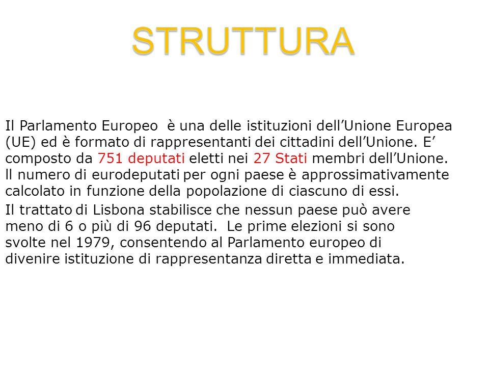 Il Parlamento Europeo è una delle istituzioni dell'Unione Europea (UE) ed è formato di rappresentanti dei cittadini dell'Unione. E' composto da 751 de