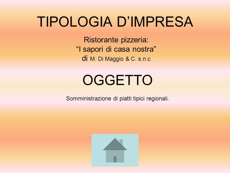 """TIPOLOGIA D'IMPRESA Ristorante pizzeria: """"I sapori di casa nostra"""" di M. Di Maggio & C. s.n.c OGGETTO Somministrazione di piatti tipici regionali."""