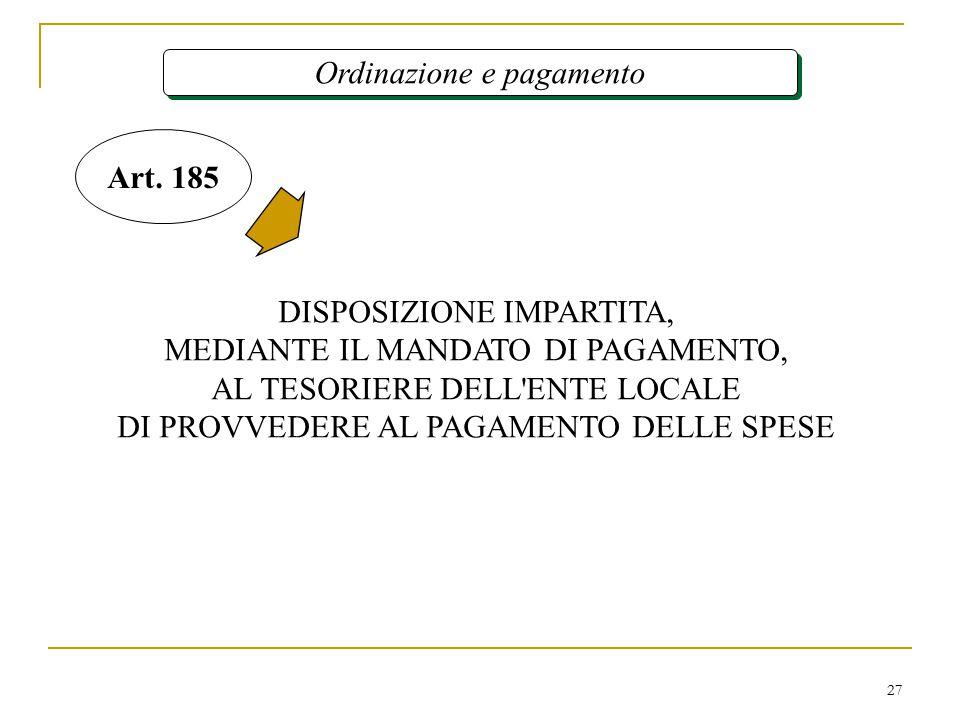 27 Ordinazione e pagamento DISPOSIZIONE IMPARTITA, MEDIANTE IL MANDATO DI PAGAMENTO, AL TESORIERE DELL ENTE LOCALE DI PROVVEDERE AL PAGAMENTO DELLE SPESE Art.