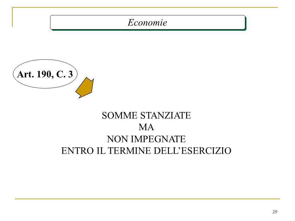 29 Economie SOMME STANZIATE MA NON IMPEGNATE ENTRO IL TERMINE DELL'ESERCIZIO Art. 190, C. 3